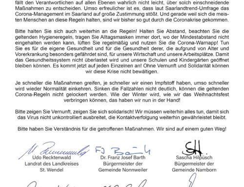 Gemeinsamer Appell der Bürgermeister und des Landrats